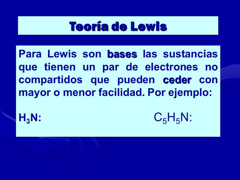 bases ceder Para Lewis son bases las sustancias que tienen un par de electrones no compartidos que pueden ceder con mayor o menor facilidad. Por ejemp