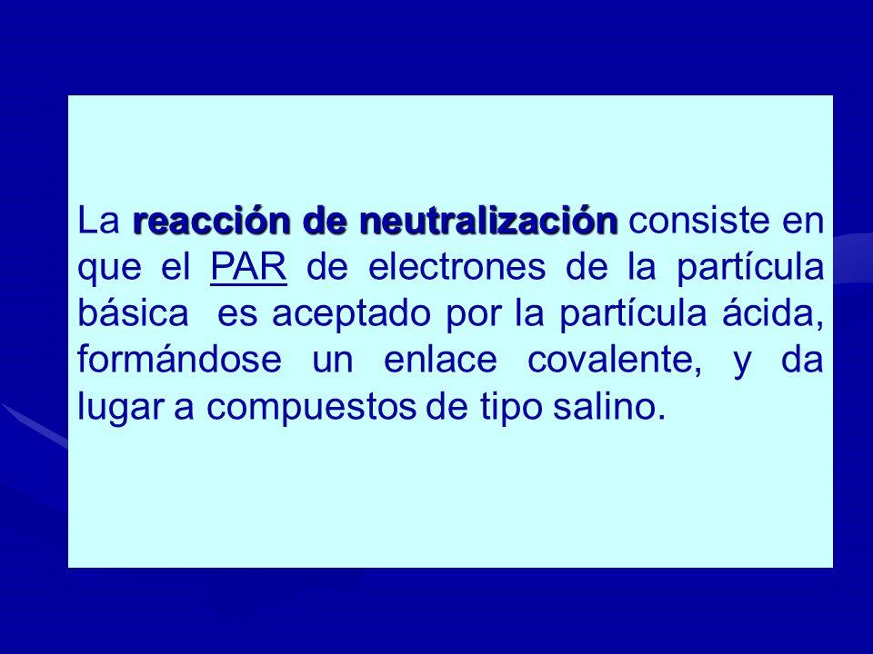 reacción de neutralización La reacción de neutralización consiste en que el PAR de electrones de la partícula básica es aceptado por la partícula ácid