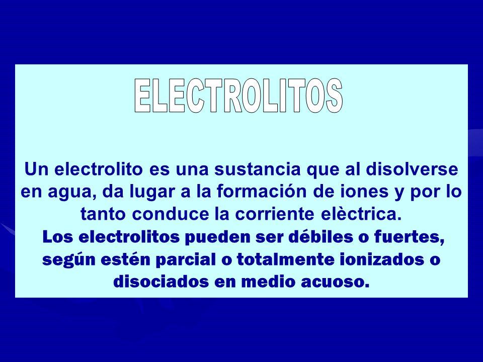 Un electrolito es una sustancia que al disolverse en agua, da lugar a la formación de iones y por lo tanto conduce la corriente elèctrica. Los electro