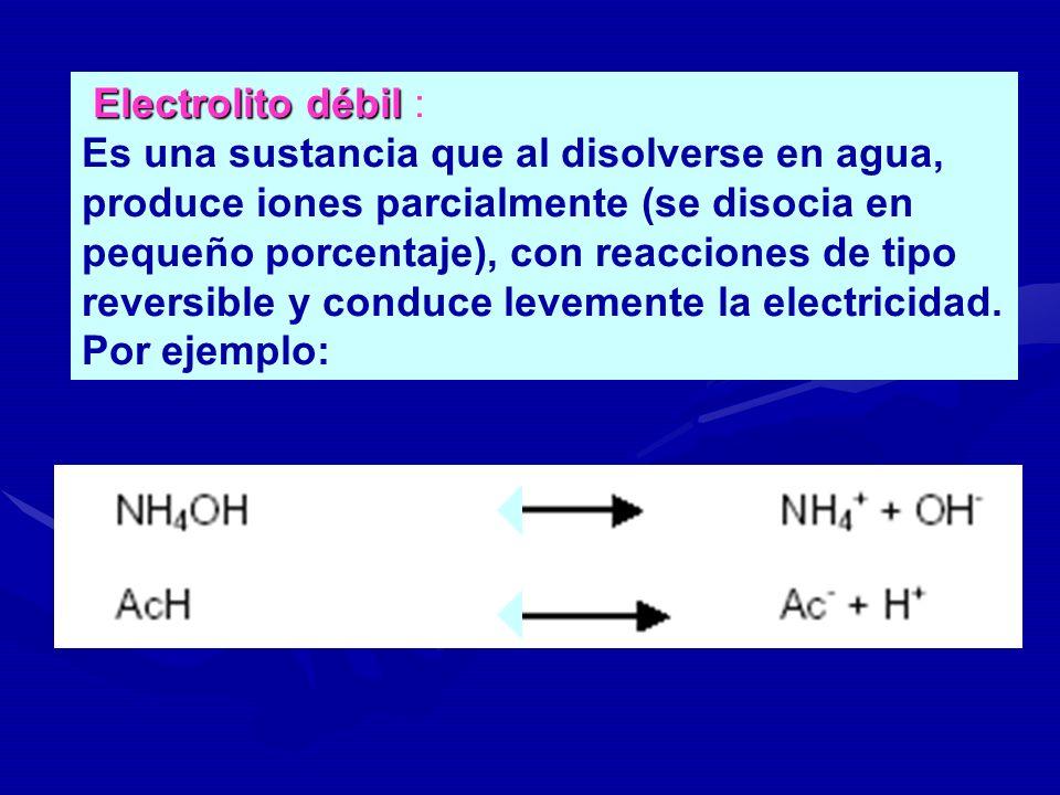 Electrolito débil Electrolito débil : Es una sustancia que al disolverse en agua, produce iones parcialmente (se disocia en pequeño porcentaje), con r