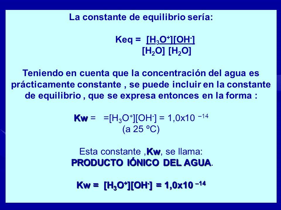 La constante de equilibrio sería: Keq = [H 3 O + ][OH - ] [H 2 O] [H 2 O] Teniendo en cuenta que la concentración del agua es prácticamente constante,