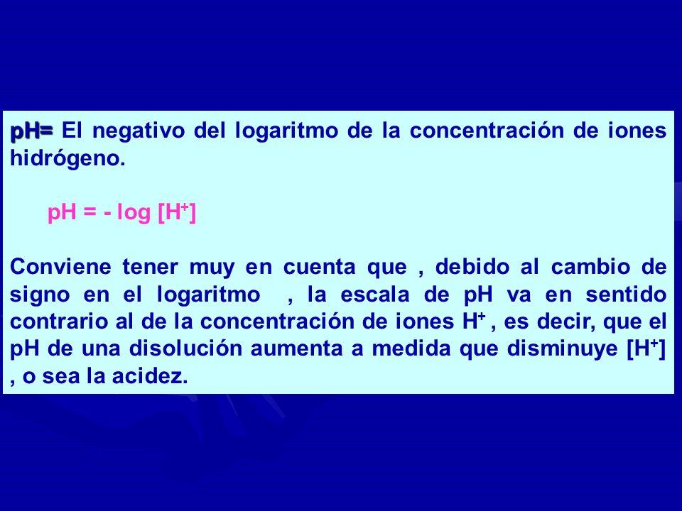 pH= pH= El negativo del logaritmo de la concentración de iones hidrógeno. pH = - log [H + ] Conviene tener muy en cuenta que, debido al cambio de sign