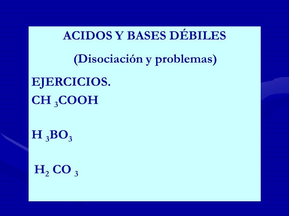 ACIDOS Y BASES DÉBILES (Disociación y problemas) EJERCICIOS. CH 3 COOH H 3 BO 3 H 2 CO 3