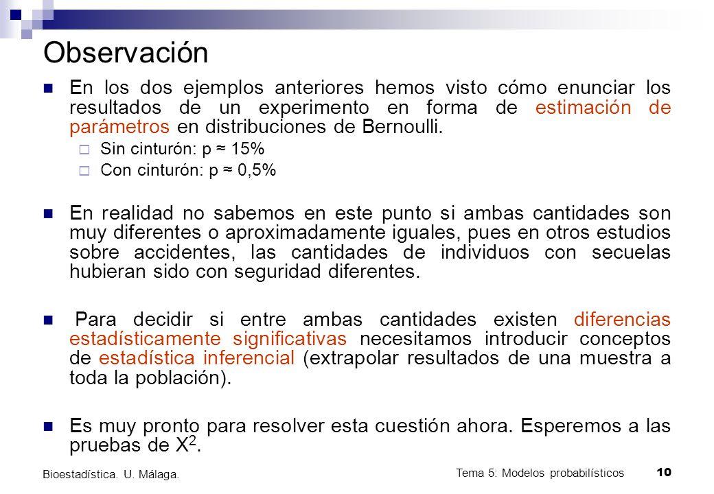 Tema 5: Modelos probabilísticos 9 Bioestadística. U. Málaga. Distribución de Bernoulli Tenemos un experimento de Bernoulli si al realizar un experimen