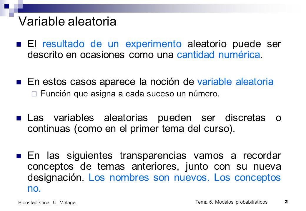 Bioestadística. U. Málaga.Tema 5: Modelos probabilísticos 1 Bioestadística Tema 5: Modelos probabilísticos