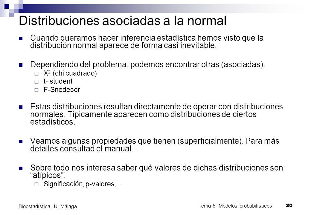 Tema 5: Modelos probabilísticos 29 Bioestadística. U. Málaga. Teorema central del límite Dada una v.a. cualquiera, si extraemos muestras de tamaño n,