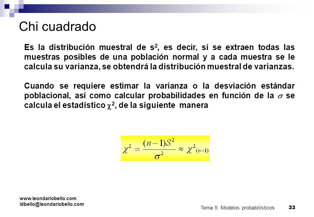 Tema 5: Modelos probabilísticos 32 Chi cuadrado Los valores de X 2 son mayores o iguales que 0. Cuando n>2, la media de una distribución X 2 es n-1 y