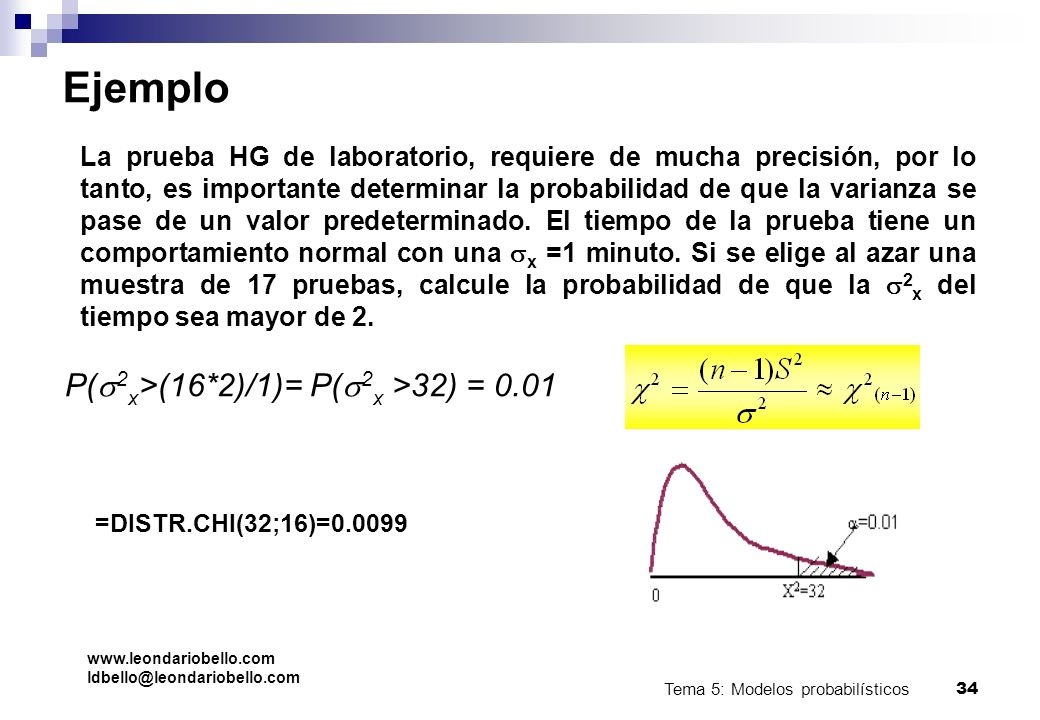 Tema 5: Modelos probabilísticos 33 Chi cuadrado Es la distribución muestral de s 2, es decir, si se extraen todas las muestras posibles de una poblaci
