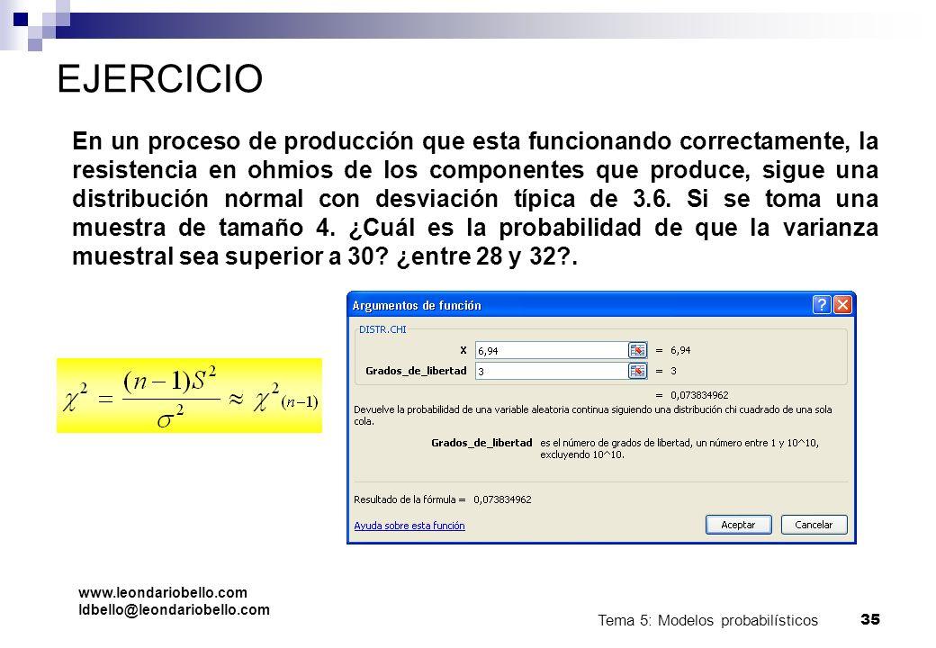 Tema 5: Modelos probabilísticos 34 Ejemplo La prueba HG de laboratorio, requiere de mucha precisión, por lo tanto, es importante determinar la probabi