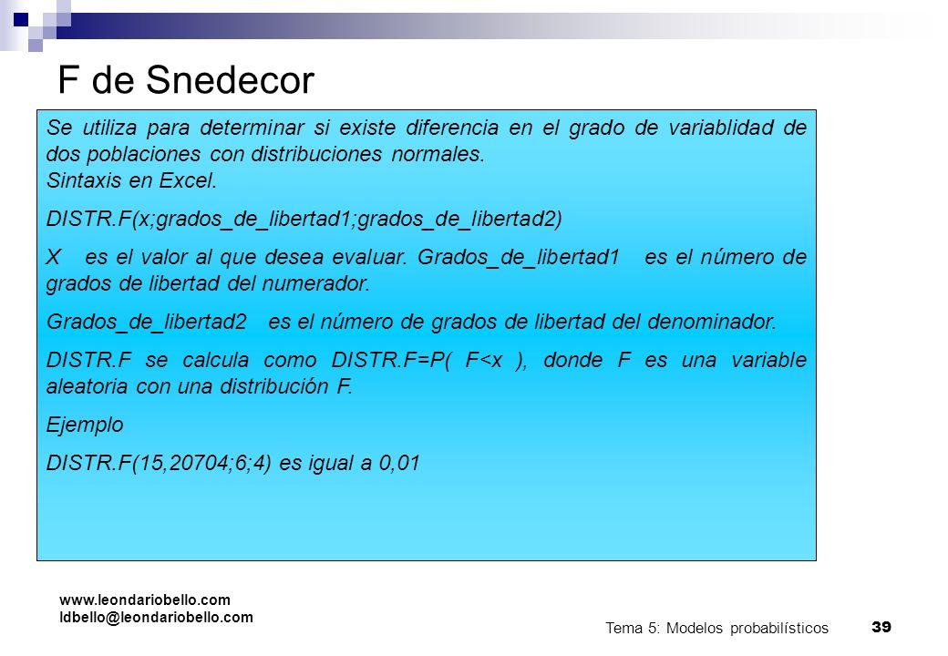 Tema 5: Modelos probabilísticos 38 Bioestadística. U. Málaga. F de Snedecor Tiene dos parámetros denominados grados de libertad. Sólo toma valores pos