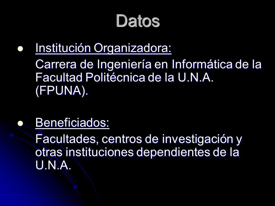Datos Institución Organizadora: Institución Organizadora: Carrera de Ingeniería en Informática de la Facultad Politécnica de la U.N.A. (FPUNA). Benefi