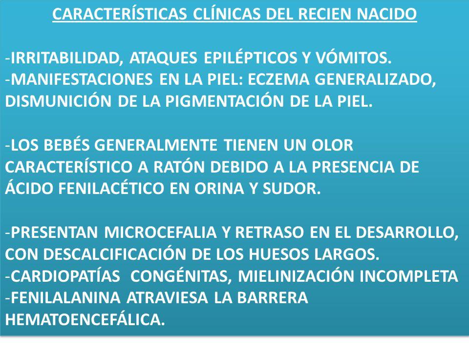 CARACTERÍSTICAS CLÍNICAS DEL RECIEN NACIDO -IRRITABILIDAD, ATAQUES EPILÉPTICOS Y VÓMITOS. -MANIFESTACIONES EN LA PIEL: ECZEMA GENERALIZADO, DISMUNICIÓ