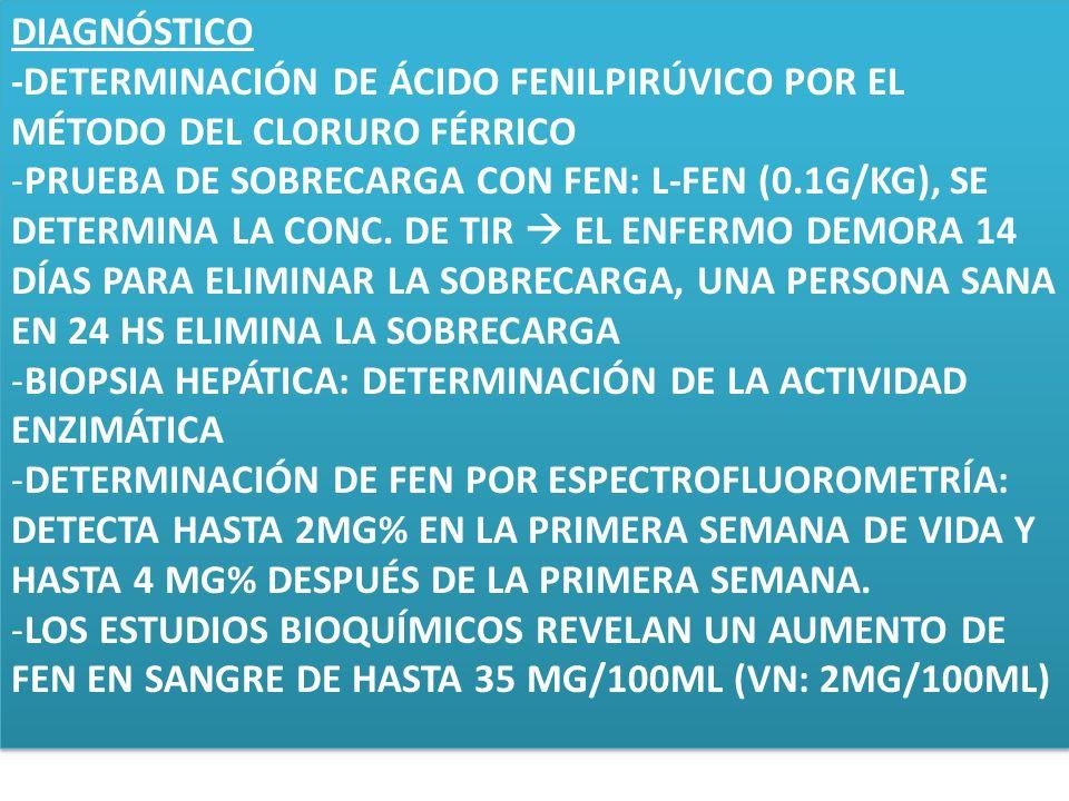 DIAGNÓSTICO -DETERMINACIÓN DE ÁCIDO FENILPIRÚVICO POR EL MÉTODO DEL CLORURO FÉRRICO -PRUEBA DE SOBRECARGA CON FEN: L-FEN (0.1G/KG), SE DETERMINA LA CO