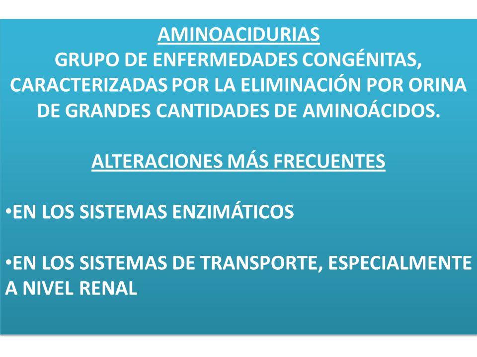 AMINOACIDURIAS GRUPO DE ENFERMEDADES CONGÉNITAS, CARACTERIZADAS POR LA ELIMINACIÓN POR ORINA DE GRANDES CANTIDADES DE AMINOÁCIDOS. ALTERACIONES MÁS FR