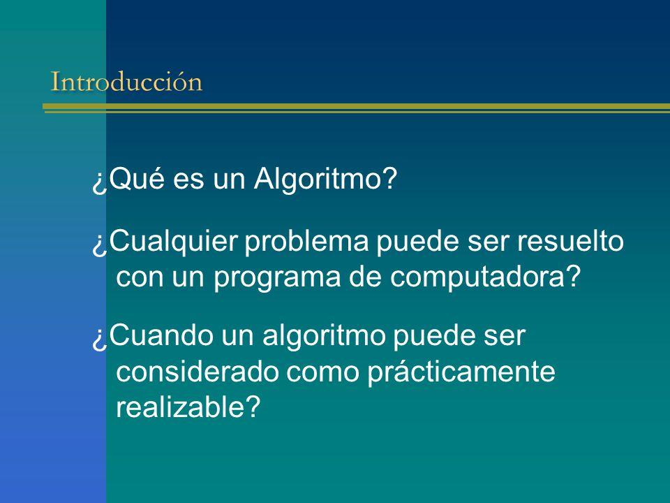 Introducción ¿Qué es un Algoritmo? ¿Cualquier problema puede ser resuelto con un programa de computadora? ¿Cuando un algoritmo puede ser considerado c
