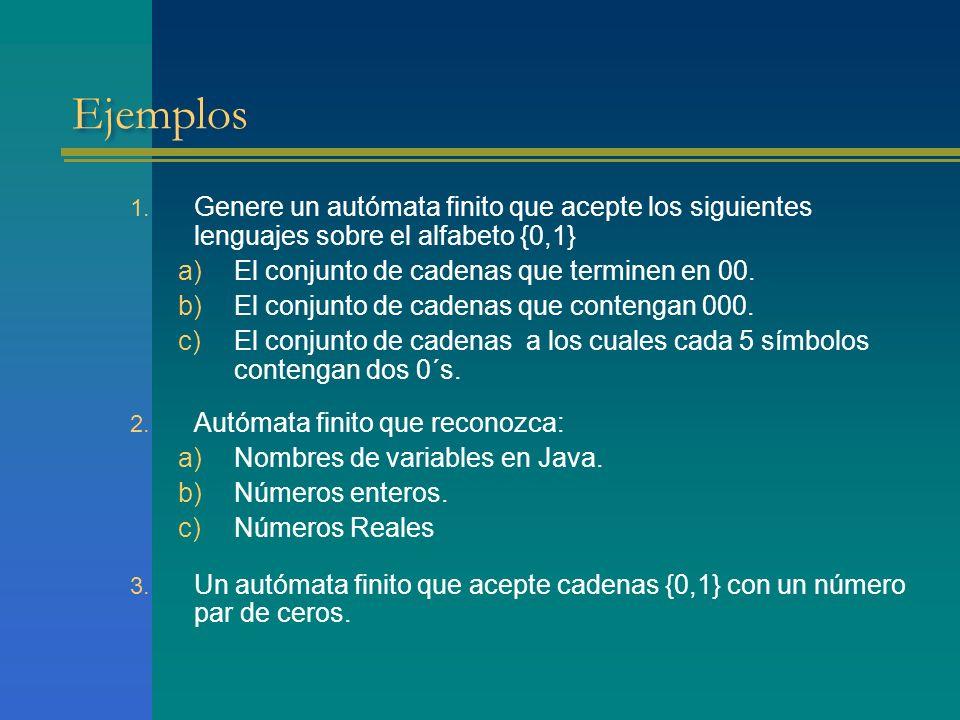 Ejemplos 1. Genere un autómata finito que acepte los siguientes lenguajes sobre el alfabeto {0,1} a)El conjunto de cadenas que terminen en 00. b)El co
