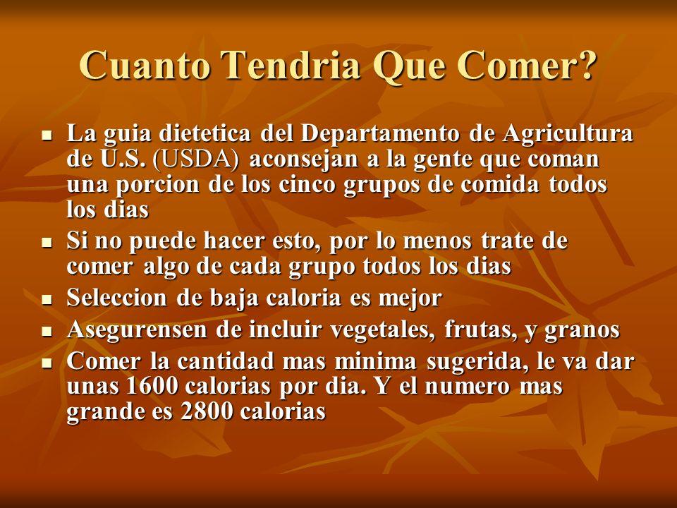 Cuanto Tendria Que Comer? La guia dietetica del Departamento de Agricultura de U.S. (USDA) aconsejan a la gente que coman una porcion de los cinco gru