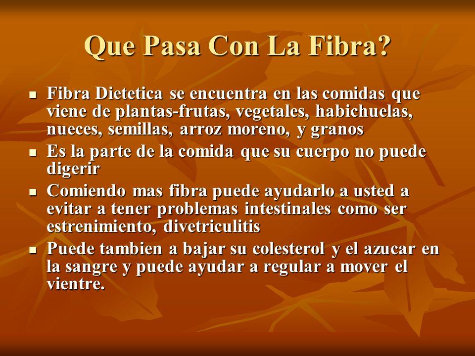 Que Pasa Con La Fibra? Fibra Dietetica se encuentra en las comidas que viene de plantas-frutas, vegetales, habichuelas, nueces, semillas, arroz moreno
