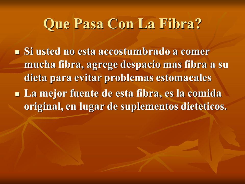 Que Pasa Con La Fibra? Si usted no esta accostumbrado a comer mucha fibra, agrege despacio mas fibra a su dieta para evitar problemas estomacales Si u