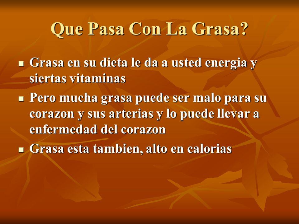 Que Pasa Con La Grasa? Grasa en su dieta le da a usted energia y siertas vitaminas Grasa en su dieta le da a usted energia y siertas vitaminas Pero mu