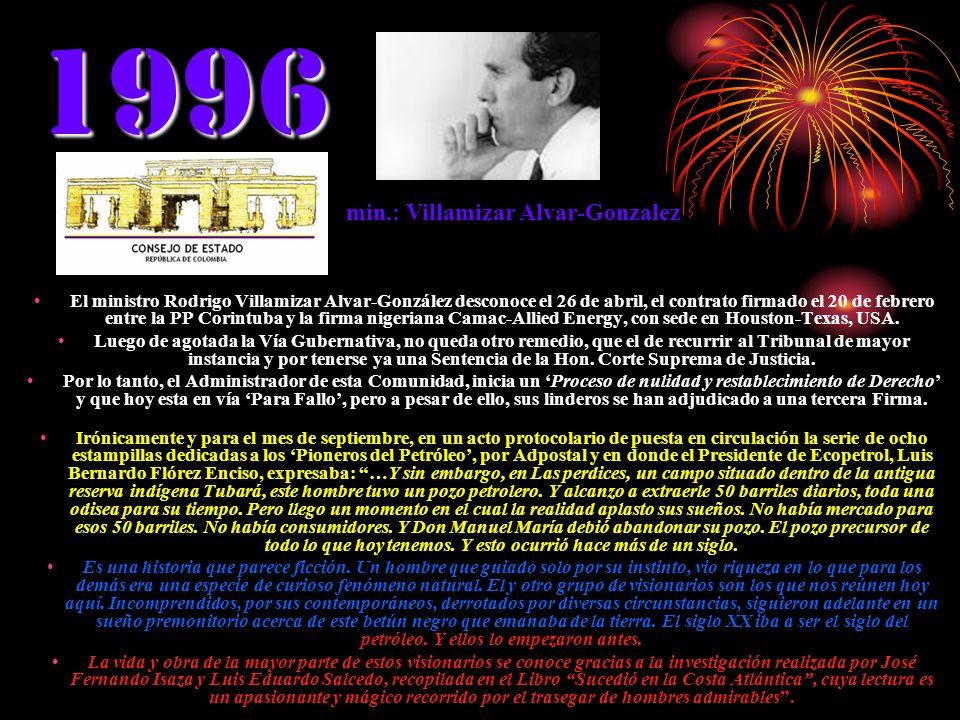 1996 El ministro Rodrigo Villamizar Alvar-González desconoce el 26 de abril, el contrato firmado el 20 de febrero entre la PP Corintuba y la firma nig