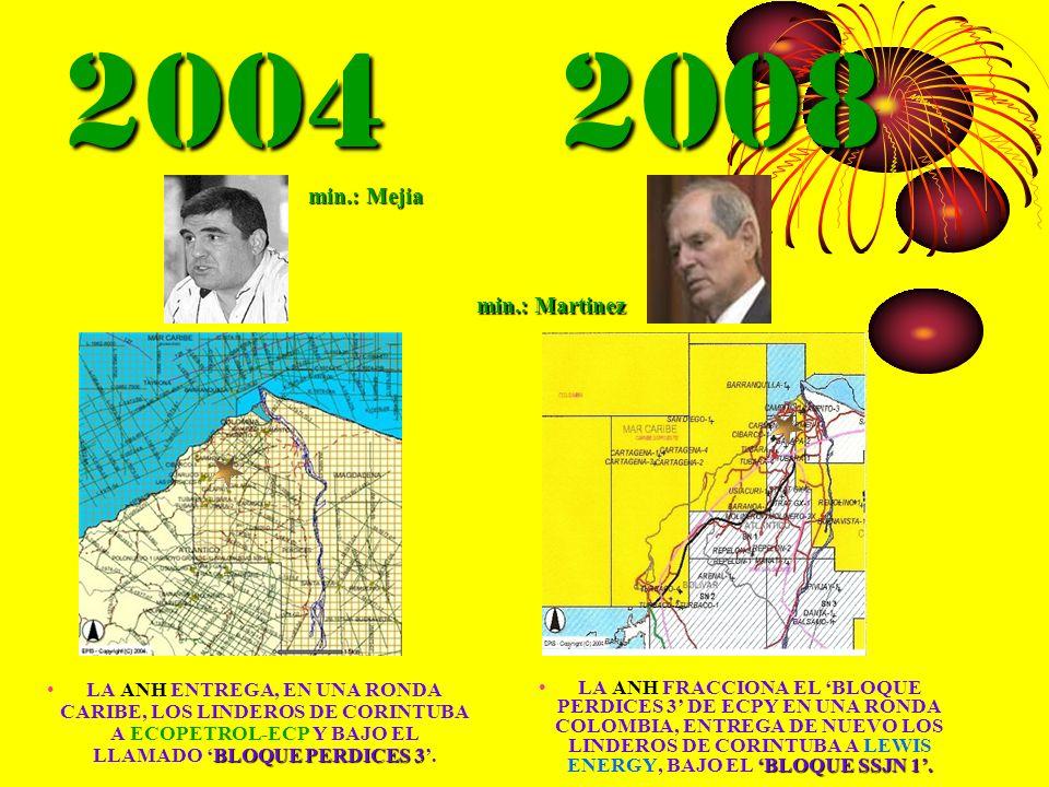2004 2008 BLOQUE PERDICES 3LA ANH ENTREGA, EN UNA RONDA CARIBE, LOS LINDEROS DE CORINTUBA A ECOPETROL-ECP Y BAJO EL LLAMADO BLOQUE PERDICES 3. BLOQUE