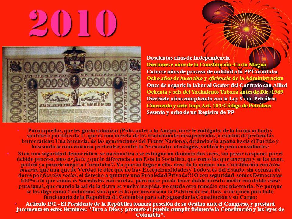 2010 Para aquellos, que les gusta satanizar (Polo, antes a la Anapo, no se le endilgaba de la forma actual) y santificar partidos (la U, que es una me
