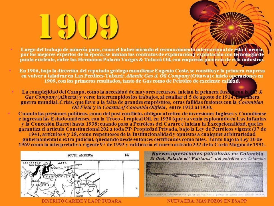 1909 Luego del trabajo de minería pura, como el haber iniciado el reconocimiento internacional de esta Cuenca, por los mejores expertos de la época; s