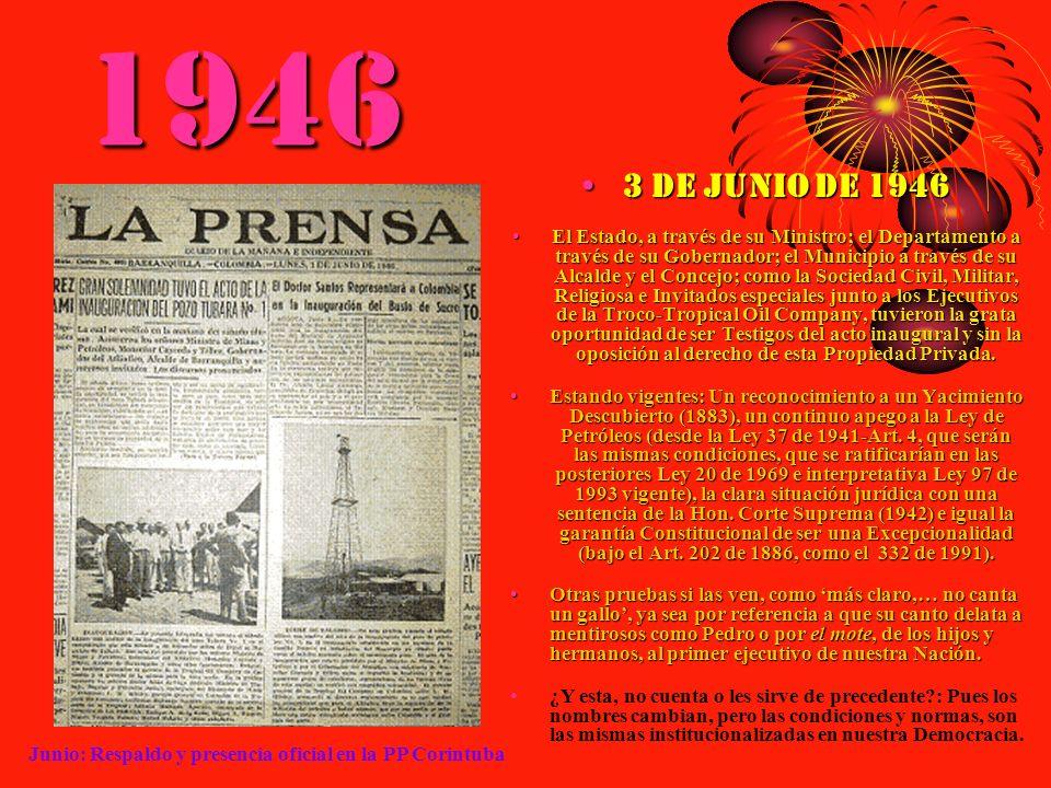 1946 3 de junio de 19463 de junio de 1946 El Estado, a través de su Ministro; el Departamento a través de su Gobernador; el Municipio a través de su A