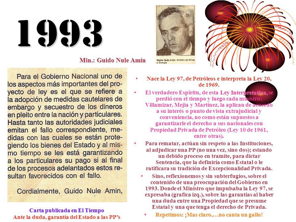 1993 Nace la Ley 97, de Petróleos e interpreta la Ley 20, de 1969. El verdadero Espíritu, de esta L LL Ley Interpretativa, se perdió con el tiempo y l