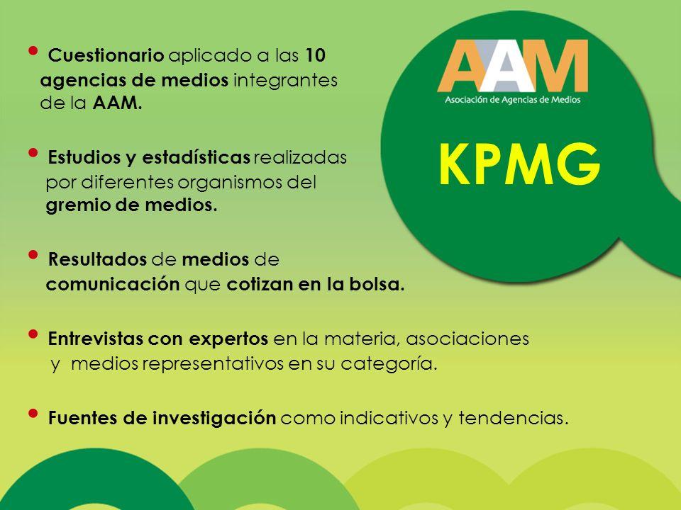 KPMG Cuestionario aplicado a las 10 agencias de medios integrantes de la AAM.
