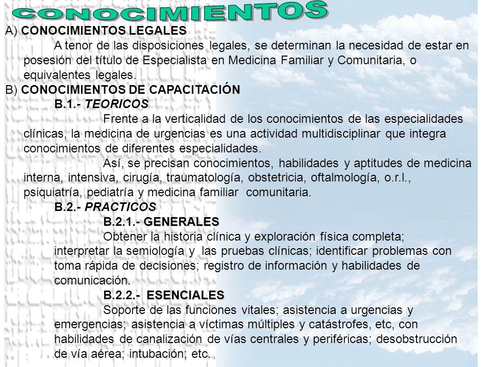 A) CONOCIMIENTOS LEGALES A tenor de las disposiciones legales, se determinan la necesidad de estar en posesión del título de Especialista en Medicina