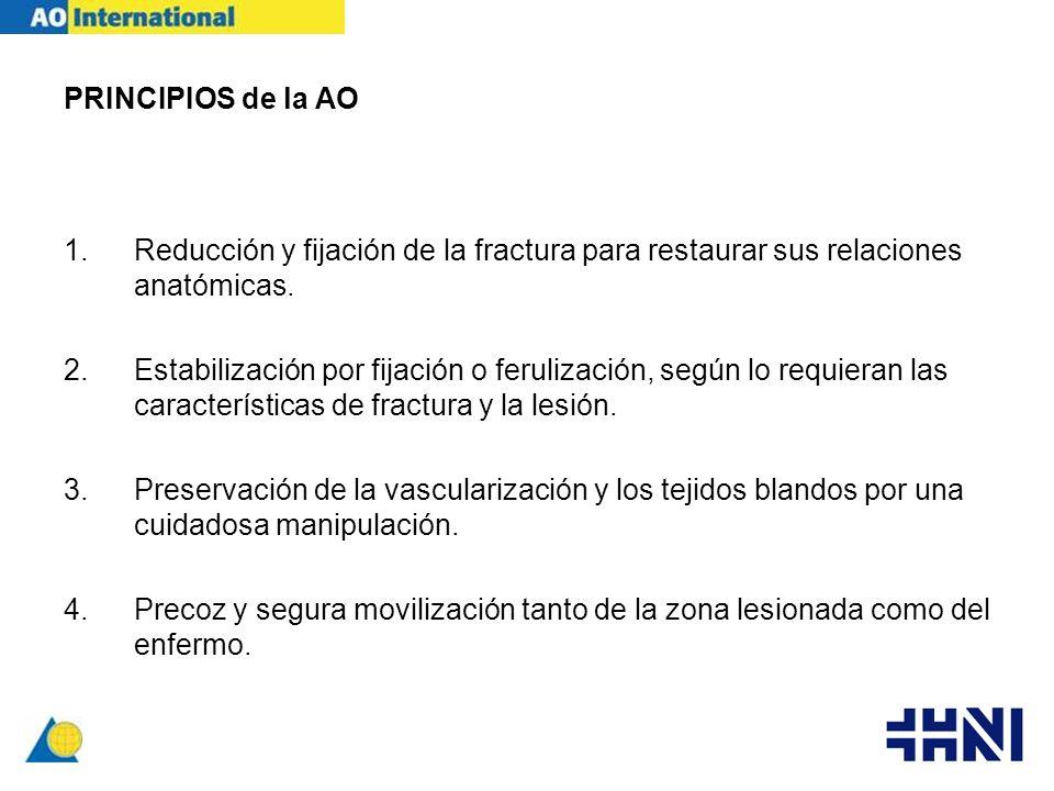 PRINCIPIOS de la AO 1.Reducción y fijación de la fractura para restaurar sus relaciones anatómicas. 2.Estabilización por fijación o ferulización, segú