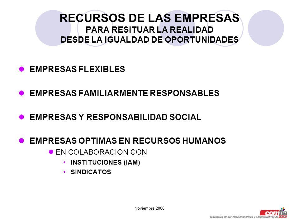 Noviembre 2006 RECURSOS DE LAS EMPRESAS PARA RESITUAR LA REALIDAD DESDE LA IGUALDAD DE OPORTUNIDADES EMPRESAS FLEXIBLES EMPRESAS FAMILIARMENTE RESPONS