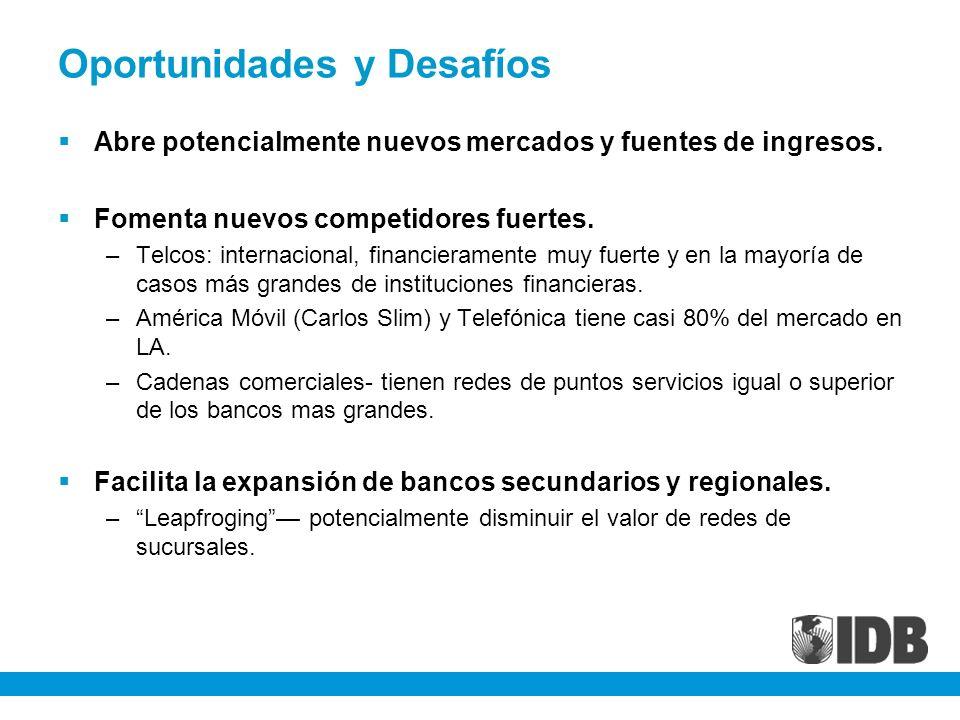 Oportunidades y Desafíos Abre potencialmente nuevos mercados y fuentes de ingresos. Fomenta nuevos competidores fuertes. –Telcos: internacional, finan