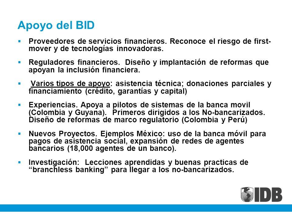 Apoyo del BID Proveedores de servicios financieros. Reconoce el riesgo de first- mover y de tecnologías innovadoras. Reguladores financieros. Diseño y