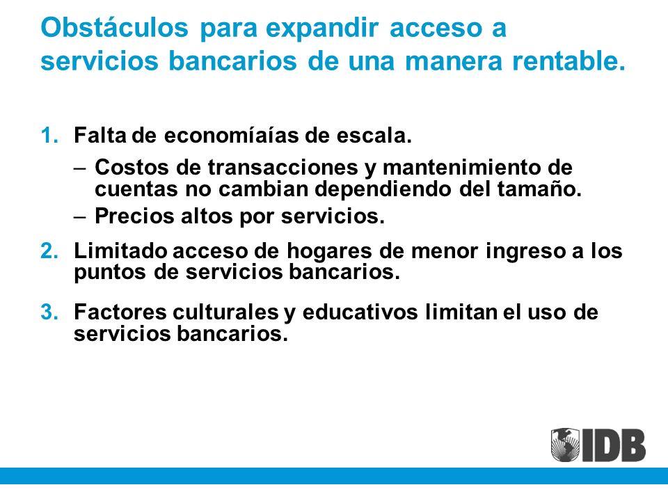 Obstáculos para expandir acceso a servicios bancarios de una manera rentable. 1.Falta de economíaías de escala. –Costos de transacciones y mantenimien