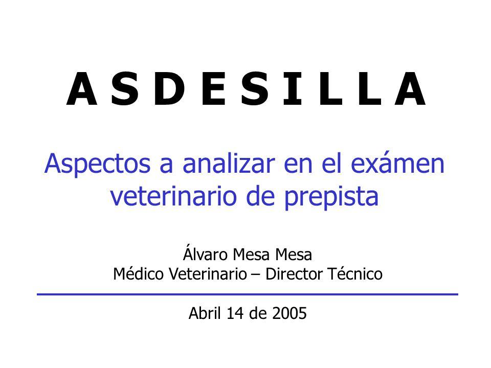 A S D E S I L L A Aspectos a analizar en el exámen veterinario de prepista Álvaro Mesa Mesa Médico Veterinario – Director Técnico Abril 14 de 2005