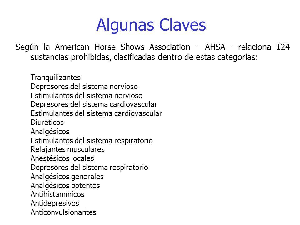 Algunas Claves Según la American Horse Shows Association – AHSA - relaciona 124 sustancias prohibidas, clasificadas dentro de estas categorías: Tranqu