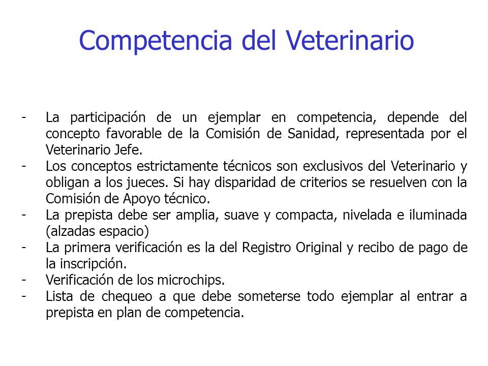 Competencia del Veterinario -La participación de un ejemplar en competencia, depende del concepto favorable de la Comisión de Sanidad, representada po
