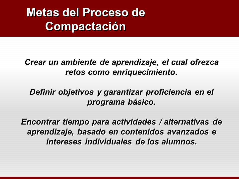 Metas del Proceso de Compactación Crear un ambiente de aprendizaje, el cual ofrezca retos como enriquecimiento. Definir objetivos y garantizar profici