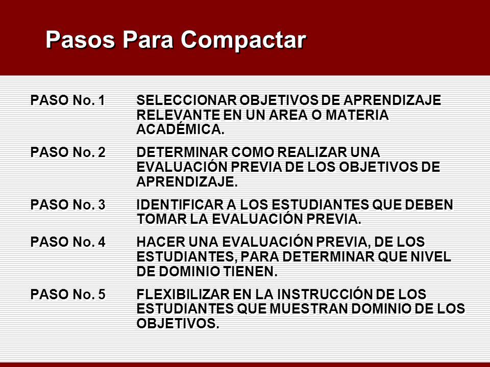 Pasos Para Compactar PASO No. 1 SELECCIONAR OBJETIVOS DE APRENDIZAJE RELEVANTE EN UN AREA O MATERIA ACADÉMICA. PASO No. 2 DETERMINAR COMO REALIZAR UNA