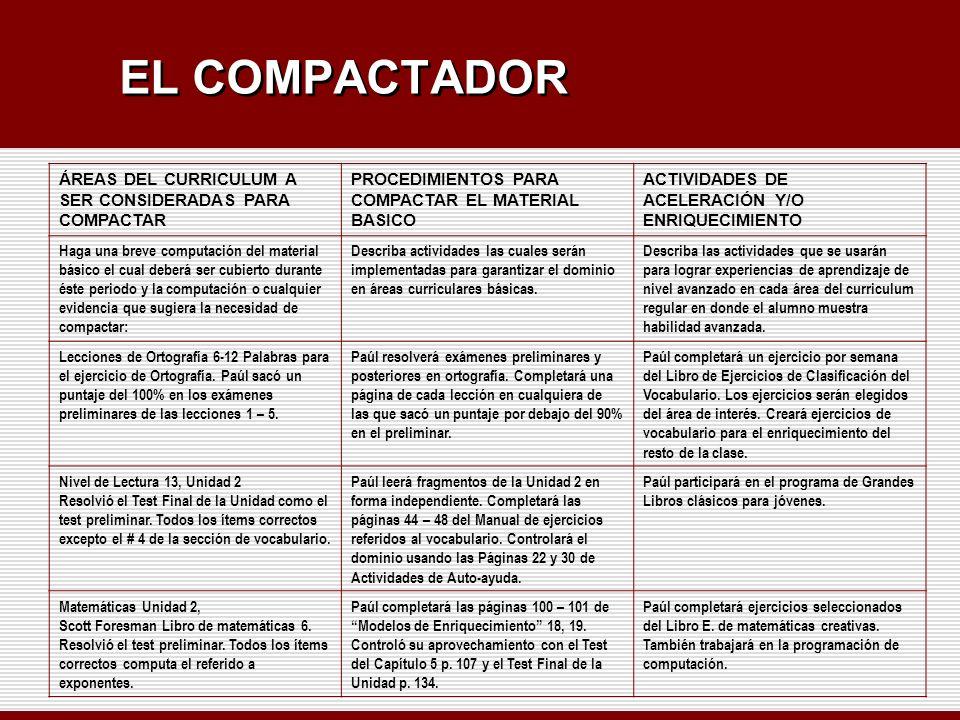 EL COMPACTADOR ÁREAS DEL CURRICULUM A SER CONSIDERADAS PARA COMPACTAR PROCEDIMIENTOS PARA COMPACTAR EL MATERIAL BASICO ACTIVIDADES DE ACELERACIÓN Y/O