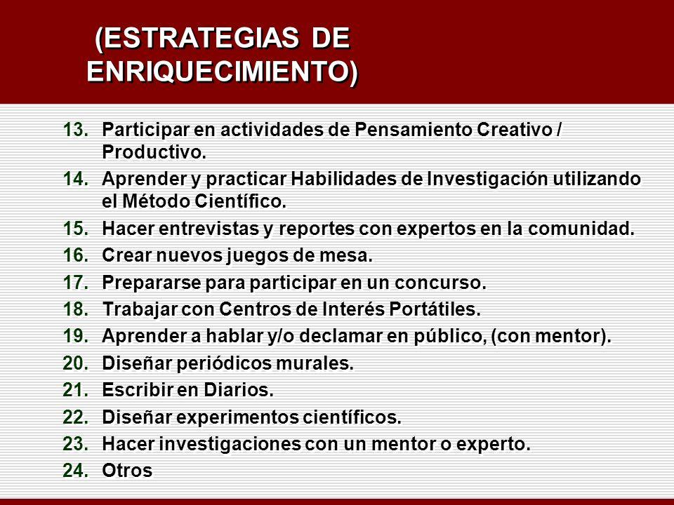 (ESTRATEGIAS DE ENRIQUECIMIENTO) 13.Participar en actividades de Pensamiento Creativo / Productivo. 14.Aprender y practicar Habilidades de Investigaci