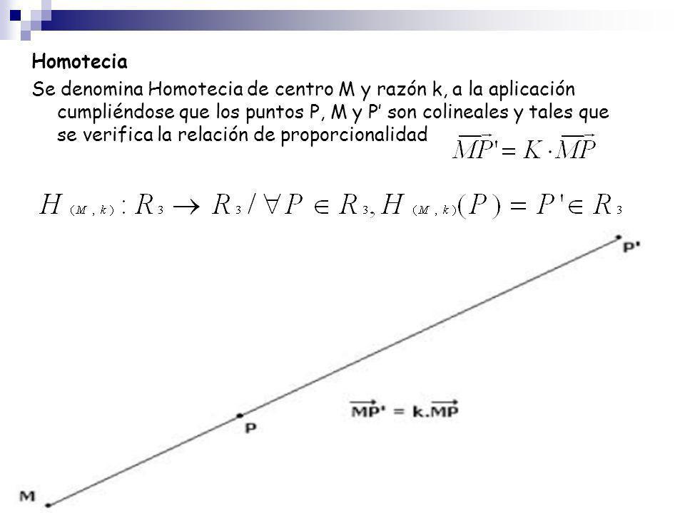 Homotecia Se denomina Homotecia de centro M y razón k, a la aplicación cumpliéndose que los puntos P, M y P son colineales y tales que se verifica la