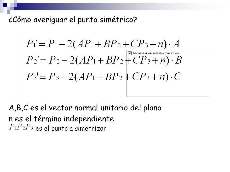 ¿Cómo averiguar el punto simétrico? A,B,C es el vector normal unitario del plano n es el término independiente es el punto a simetrizar