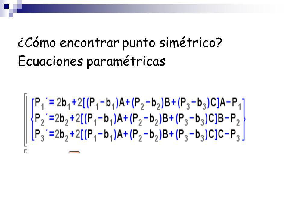 ¿Cómo encontrar punto simétrico? Ecuaciones paramétricas