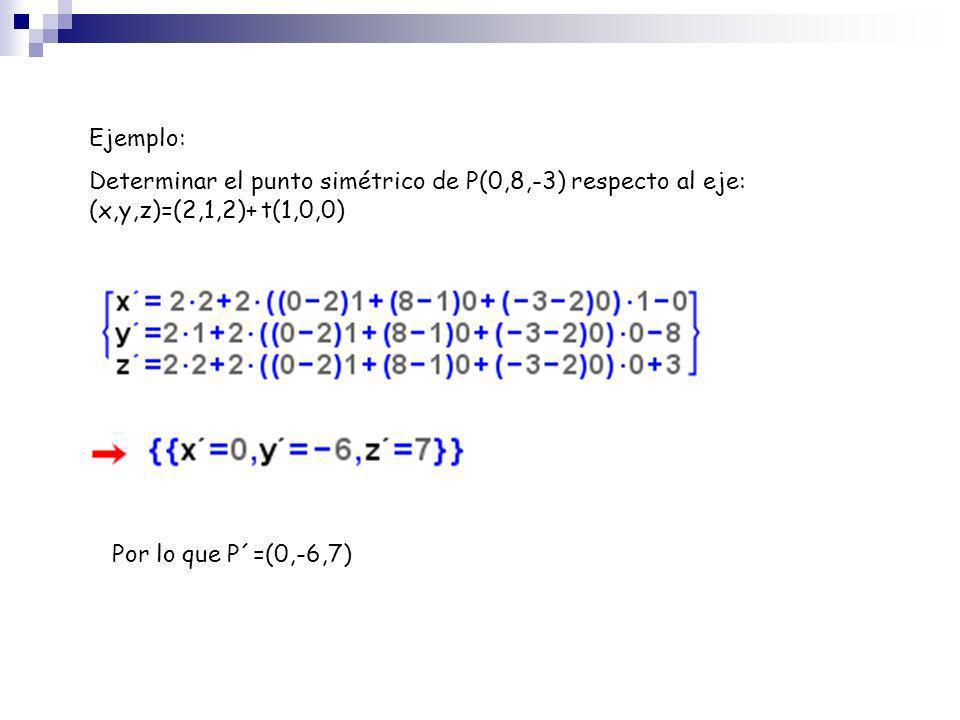Ejemplo: Determinar el punto simétrico de P(0,8,-3) respecto al eje: (x,y,z)=(2,1,2)+ t(1,0,0) Por lo que P´=(0,-6,7)