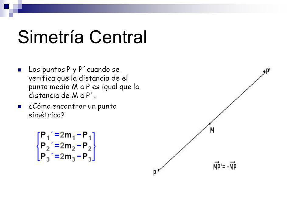 Ejemplo: Calcula el punto simétrico a P(-1,9,-3) en una simetría central cuyo centro es M(0,0,-3) P´=(1,-9,-3)