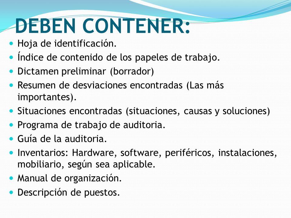 DEBEN CONTENER: Hoja de identificación. Índice de contenido de los papeles de trabajo. Dictamen preliminar (borrador) Resumen de desviaciones encontra